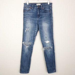 "Madewell 9"" High Rise Skinny Jean Rip Repair sz 28"